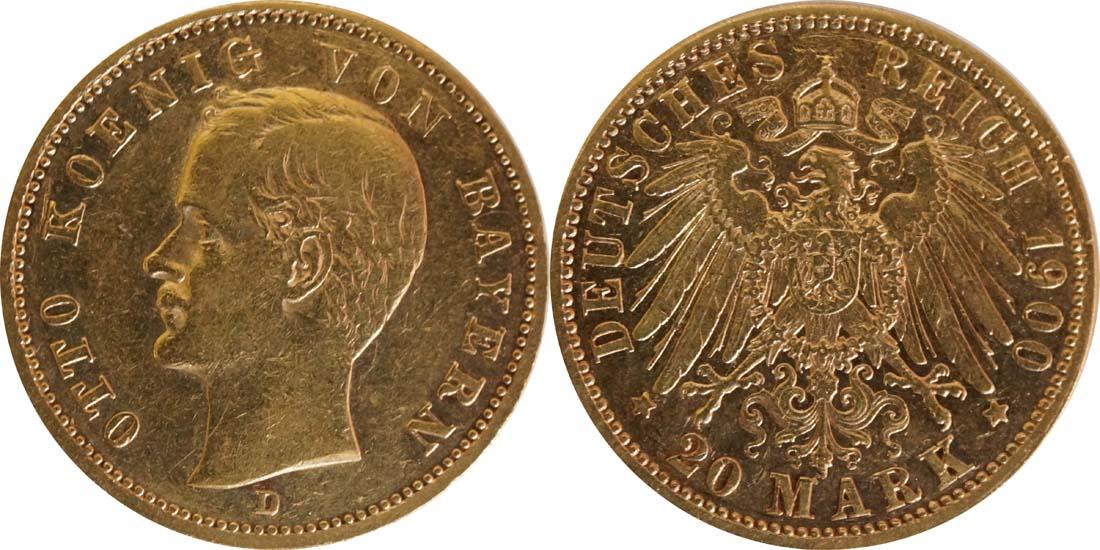 Übersicht:Deutschland : 20 Mark  winz. Kratzer 1900 ss.