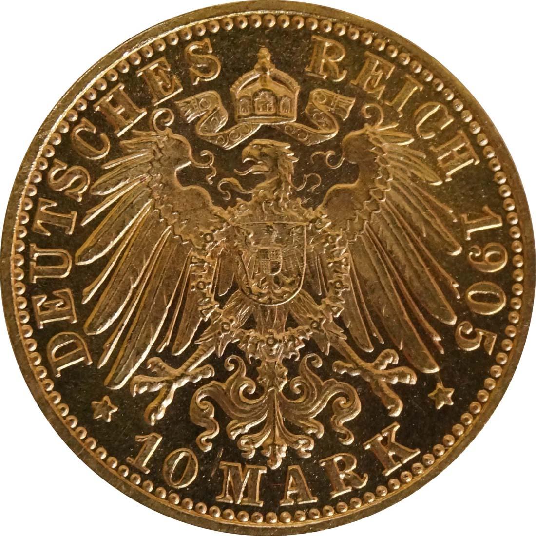Rückseite:Deutschland : 10 Mark  winz. Kratzer 1905 f.ss