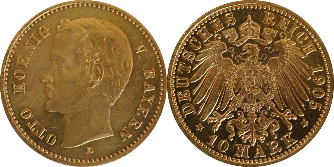 Übersicht:Deutschland : 10 Mark  winz. Kratzer 1905 f.ss