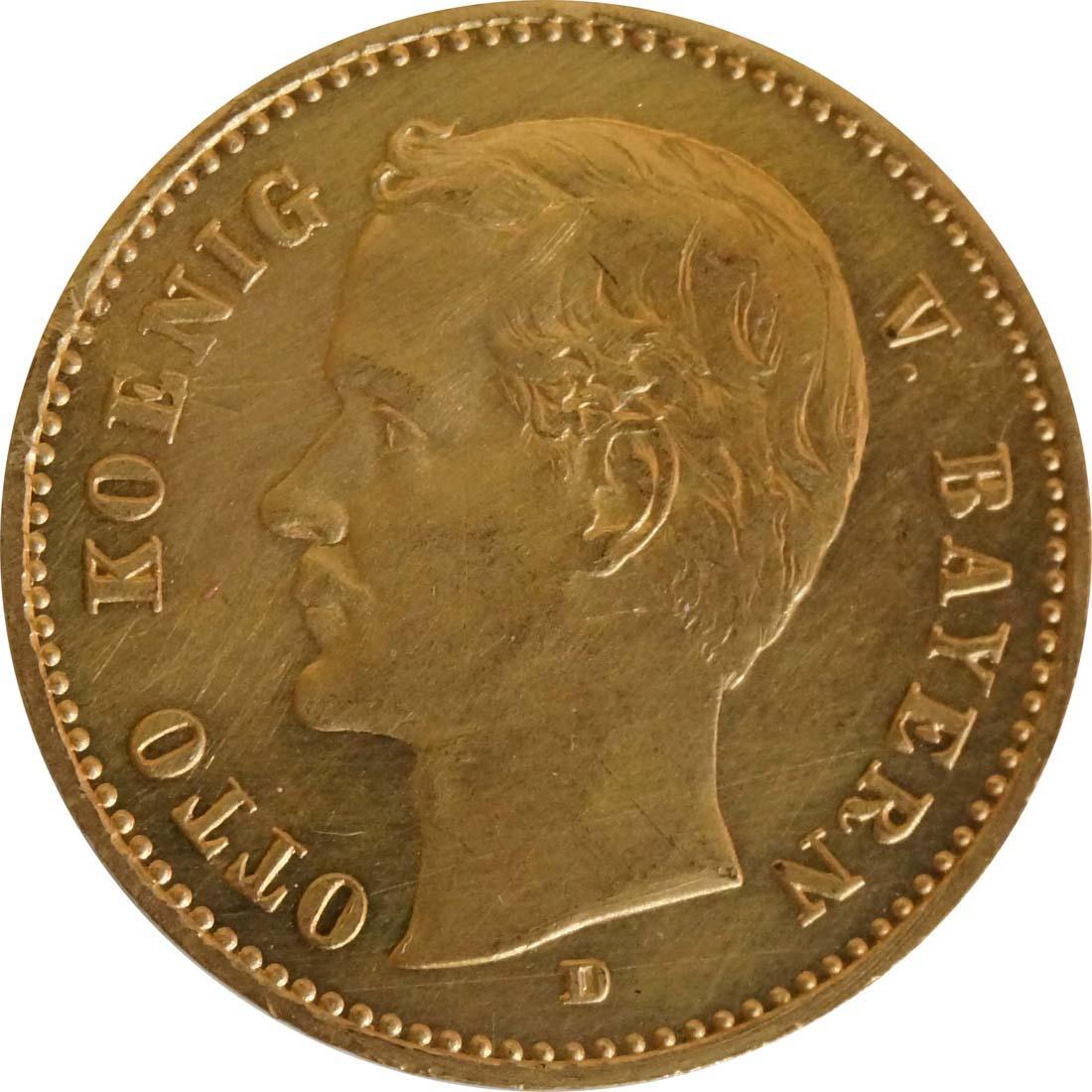 Vorderseite:Deutschland : 10 Mark  winz. Kratzer 1905 f.ss