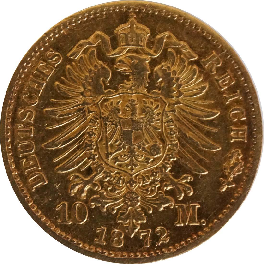 Rückseite :Deutschland : 10 Mark   1872 ss.