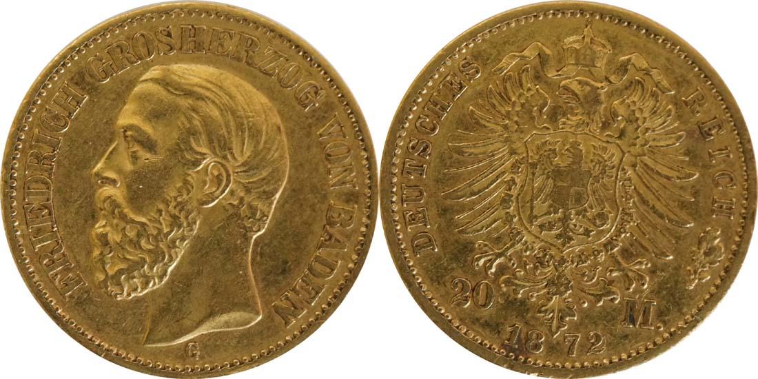 Übersicht:Deutschland : 20 Mark  winz. Rs. 1872 ss.
