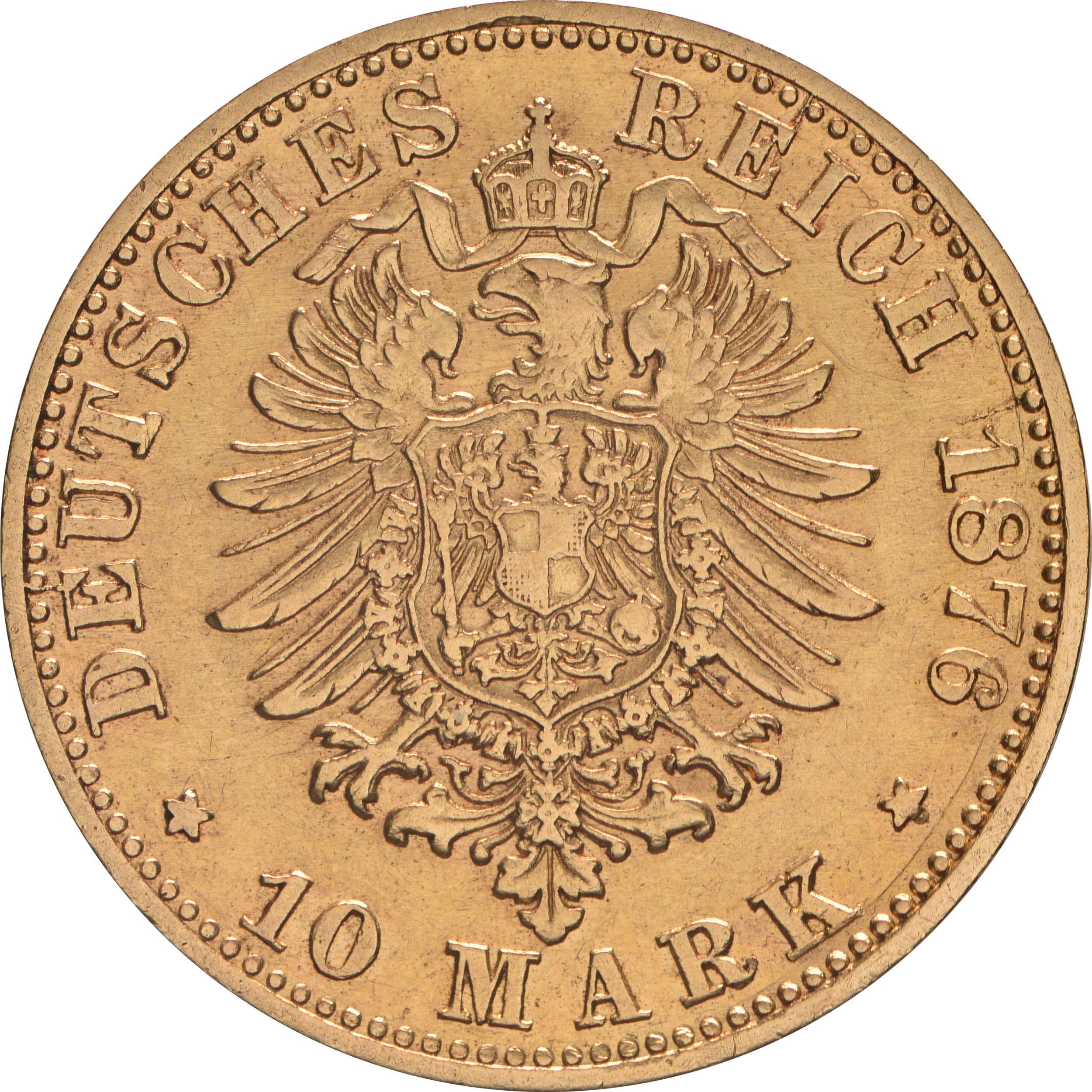 Rückseite:Deutschland : 10 Mark   1876 ss.