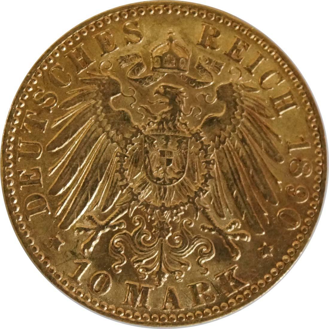 Rückseite :Deutschland : 10 Mark   1890 ss/vz.