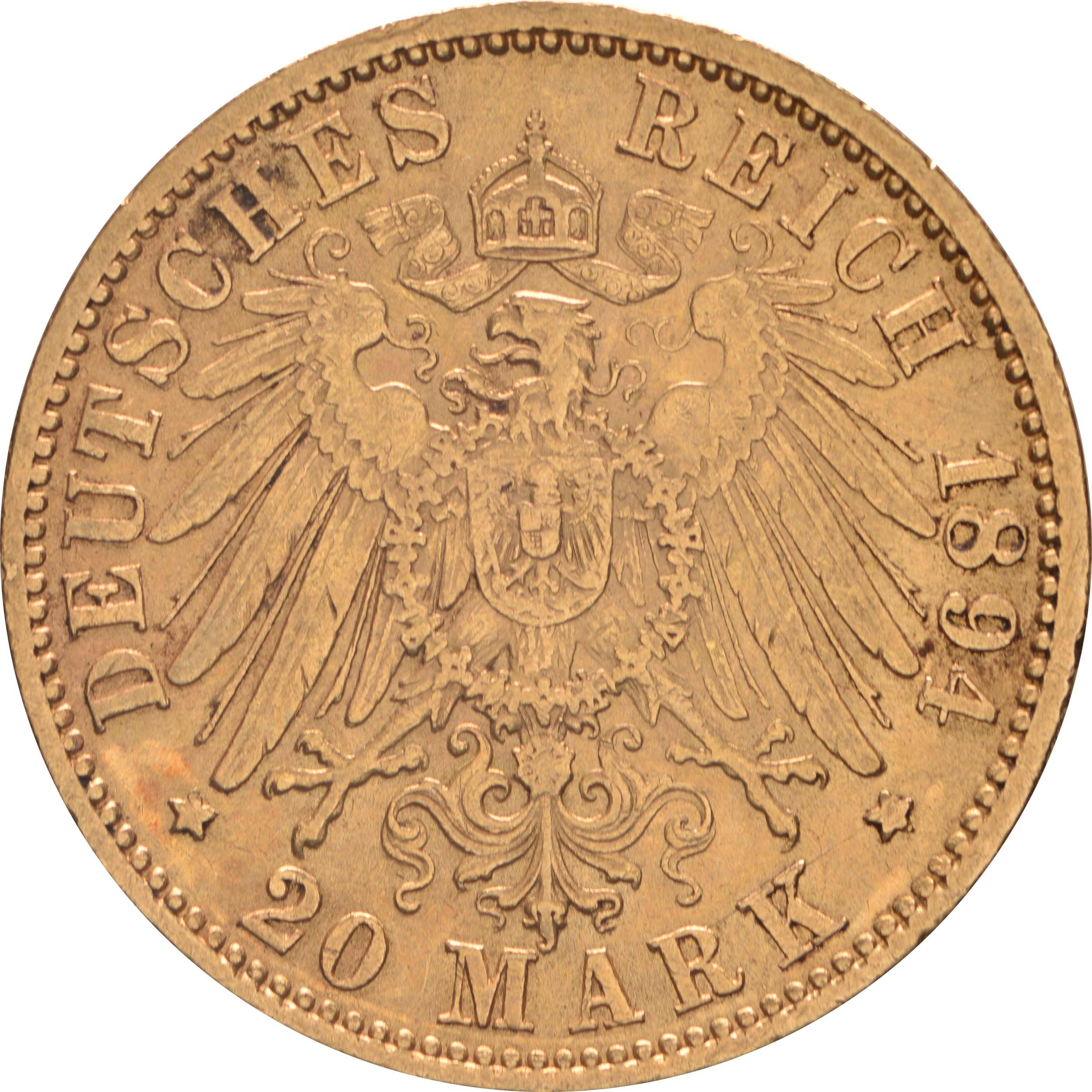 Rückseite:Deutschland : 20 Mark   1894 ss/vz.
