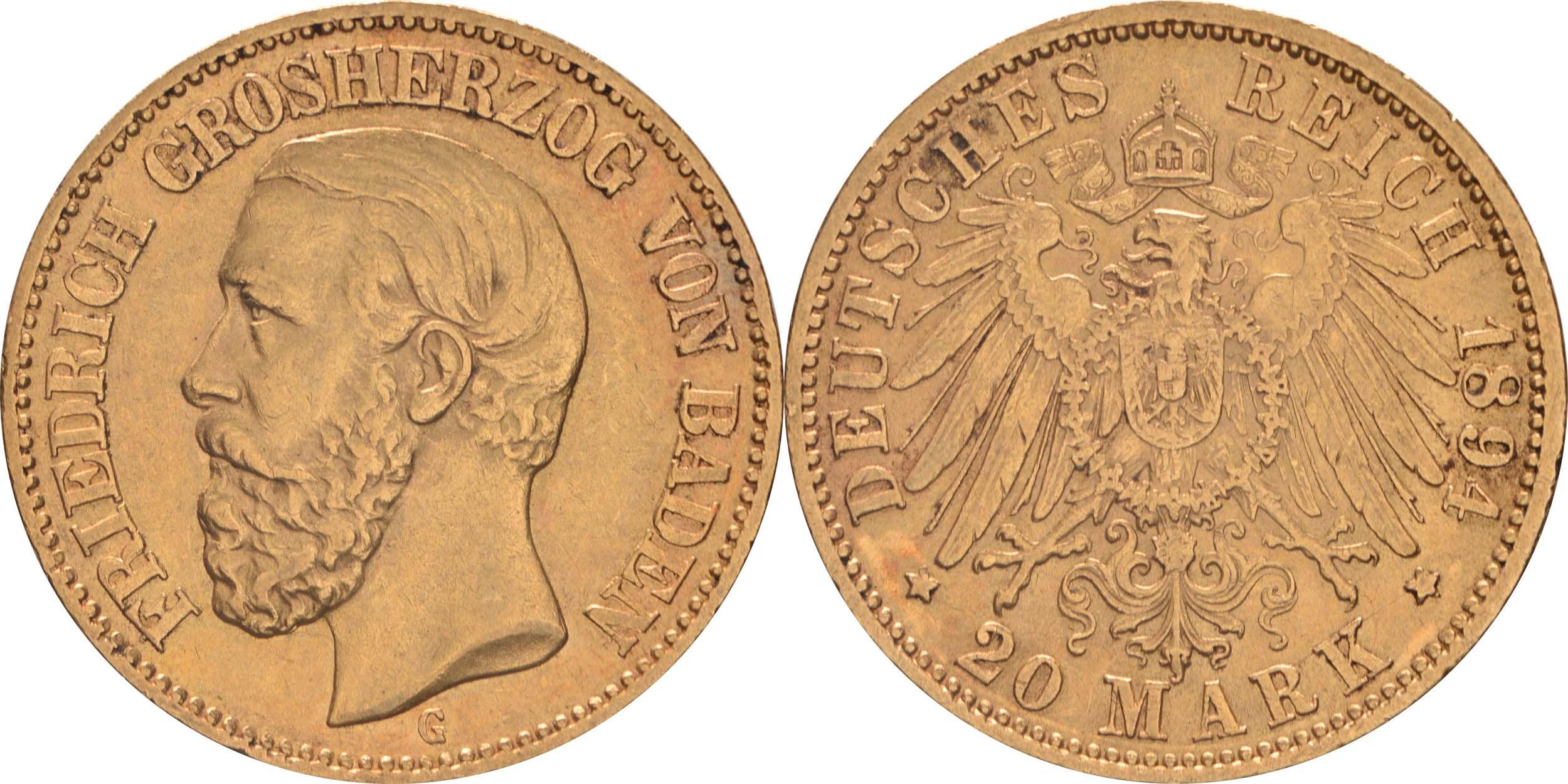 Übersicht:Deutschland : 20 Mark   1894 ss/vz.