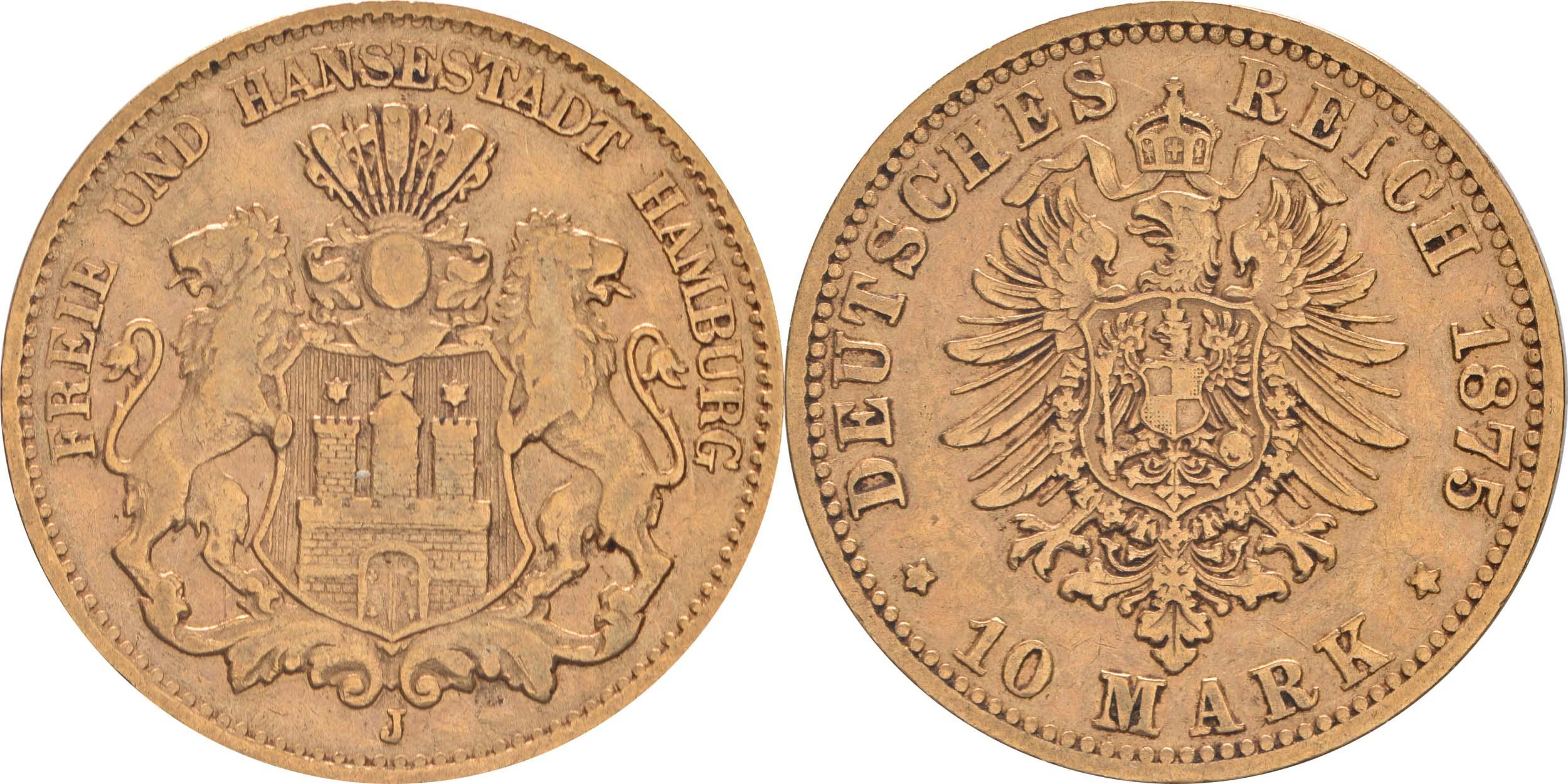 Übersicht:Deutschland : 10 Mark   1875 f.ss