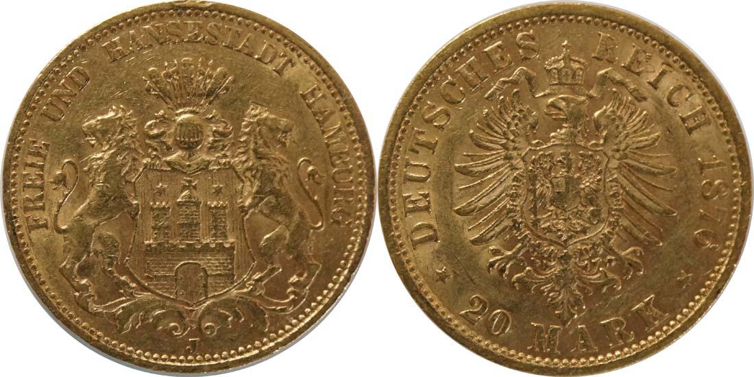 Lieferumfang:Deutschland : 20 Mark  winz. Kratzer, winz. Rs. 1876 ss.