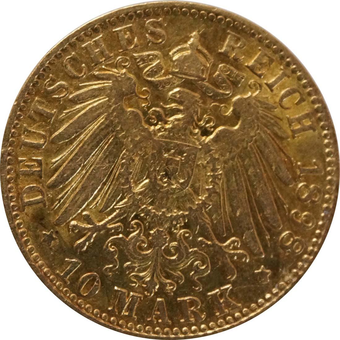 Rückseite:Deutschland : 10 Mark   1898 vz.
