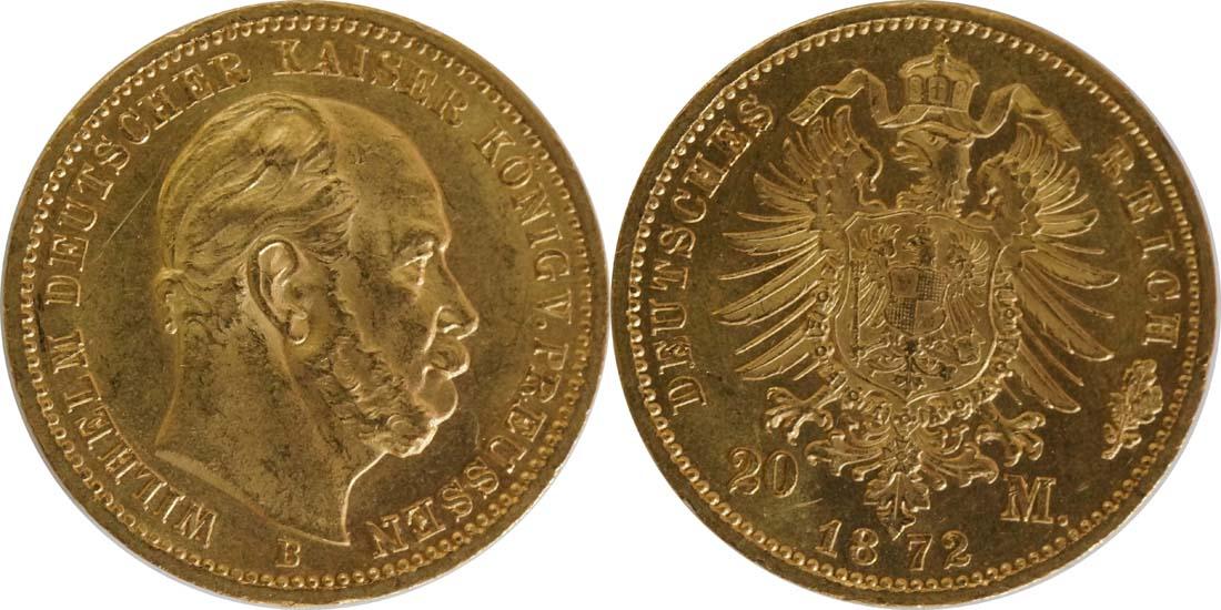 Deutschland : 20 Mark  winz. Rs., winz. Kratzer 1872 vz/Stgl.