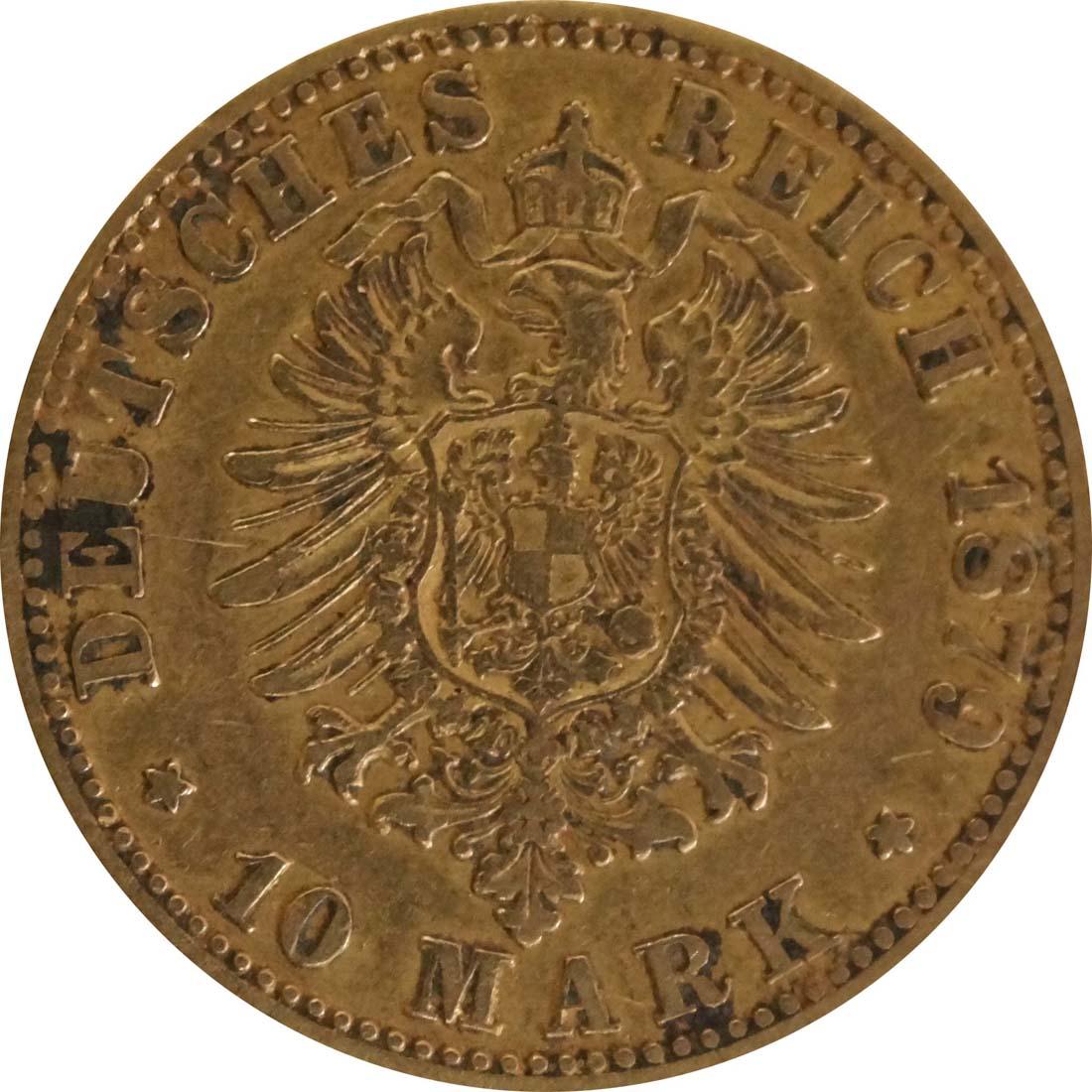 Rückseite :Deutschland : 10 Mark   1879 f.ss