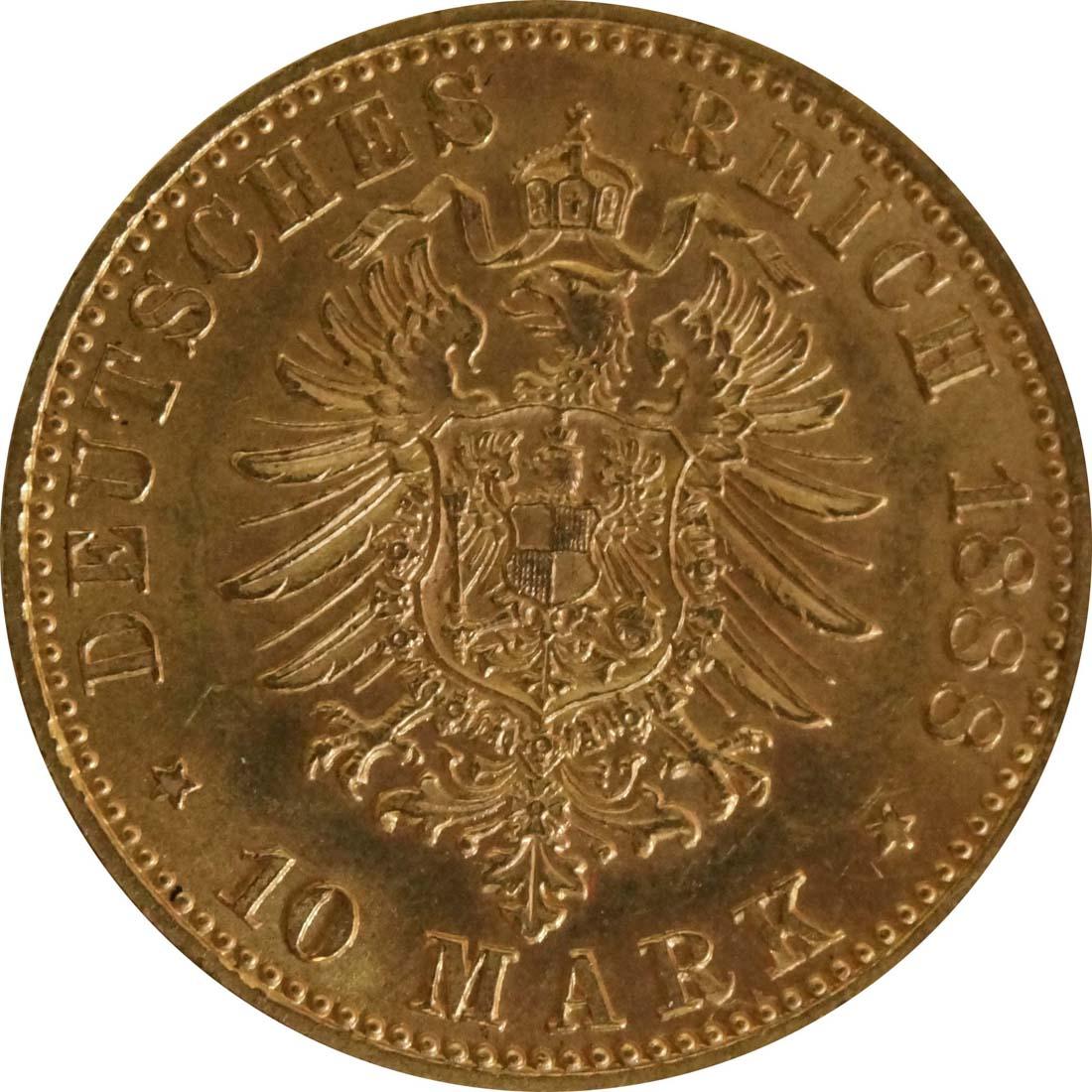Rückseite :Deutschland : 10 Mark Friedrich winz. Kratzer 1888 vz/Stgl.