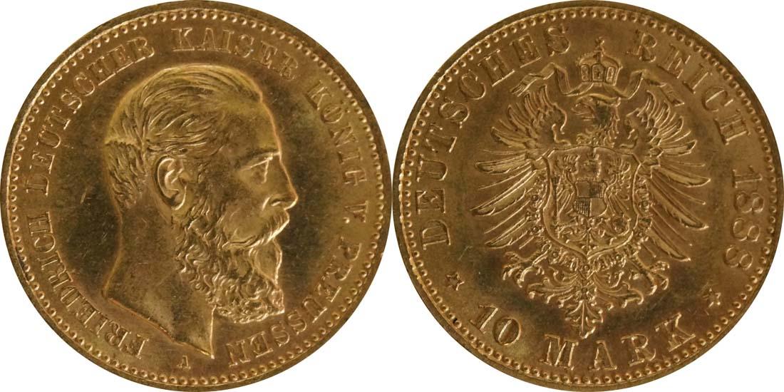 Deutschland : 10 Mark Friedrich winz. Kratzer 1888 vz/Stgl.