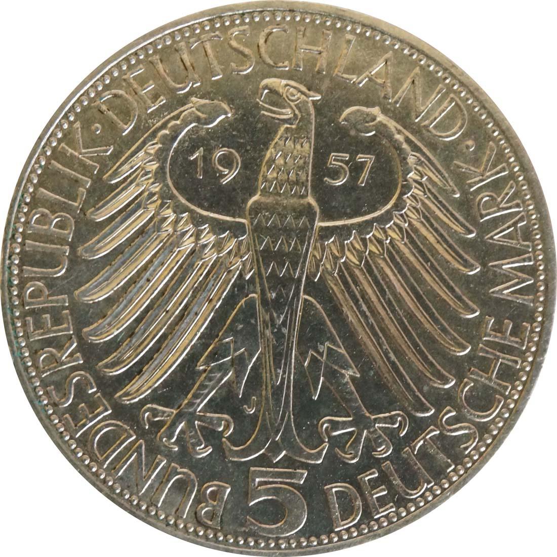 Rückseite:Deutschland : 5 DM Eichendorff  1957 f.Stgl.