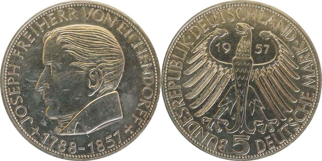 Übersicht:Deutschland : 5 DM Eichendorff  1957 f.Stgl.