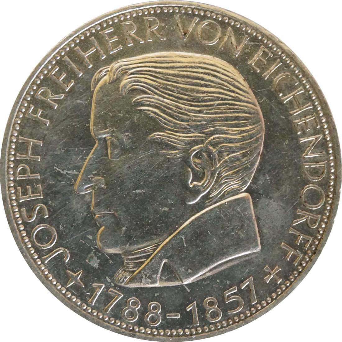 Vorderseite:Deutschland : 5 DM Eichendorff  1957 f.Stgl.