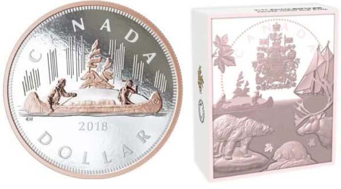 Kanada : 1 Dollar Große Münzen - Kanu  2018 PP