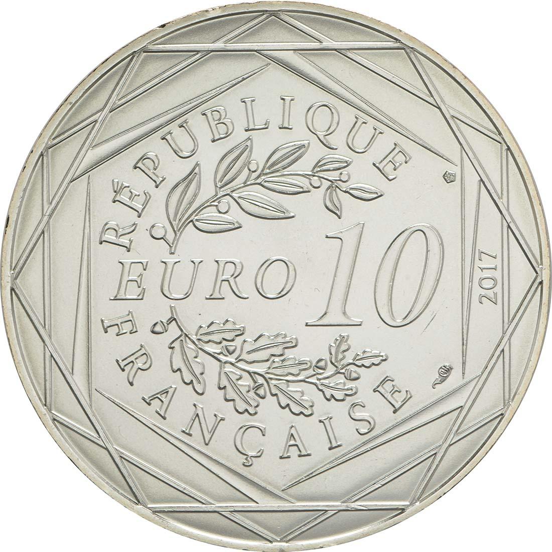 Rückseite:Frankreich : 10 Euro La Bourgogne millésimée  2017 bfr