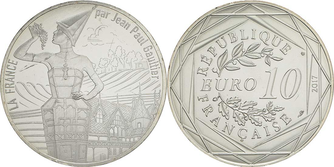 Lieferumfang:Frankreich : 10 Euro La Bourgogne millésimée  2017 bfr