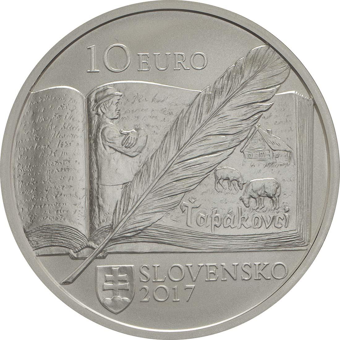 Rückseite:Slowakei : 10 Euro 150. Geb. Bozena Slancikova-Timrava (Schriftstellerin)  2017 Stgl.