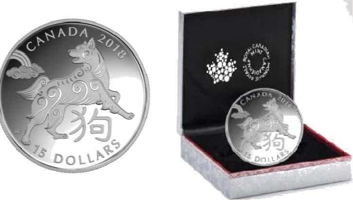 Kanada : 15 Dollar Jahr des Hundes - rund  2018 PP