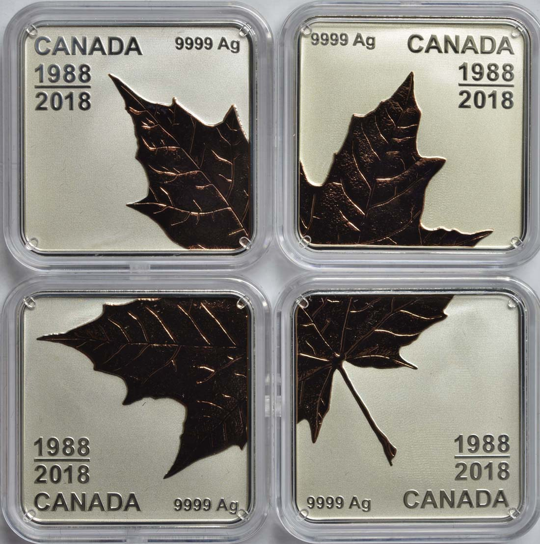Vorderseite:Kanada : 12 Dollar 4 x 3 Dollar Maple Leaf Quartett - Rotgoldauflage  2018 PP