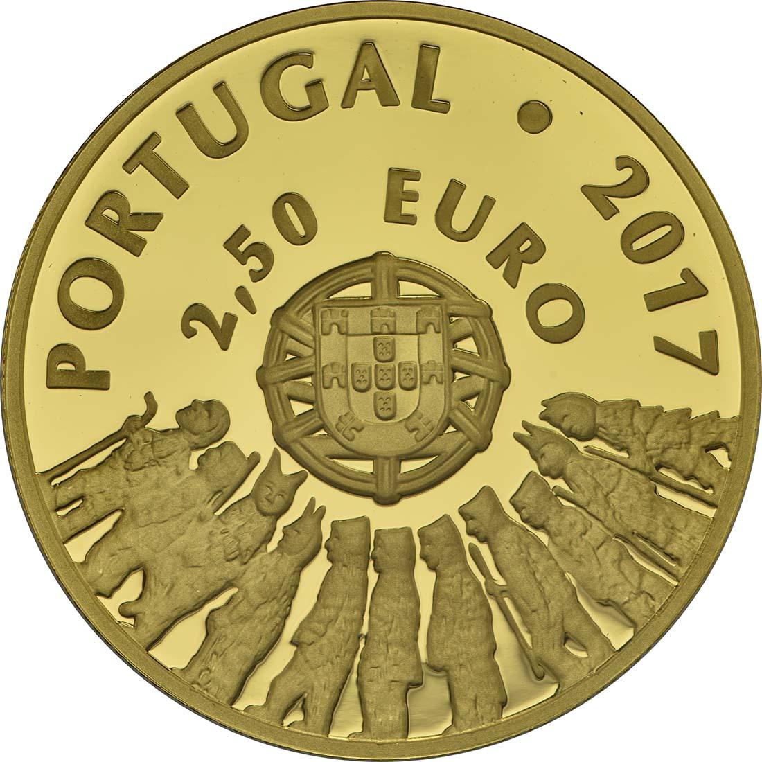 Rückseite:Portugal : 2,5 Euro Masken von Tras-Os-Montes  2017 PP