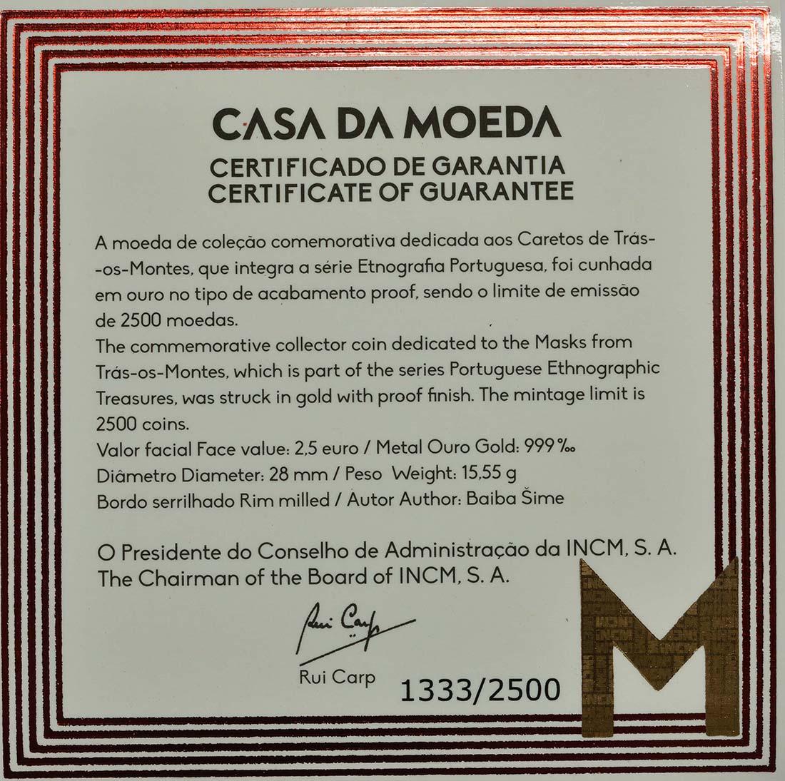 Zertifikat:Portugal : 2,5 Euro Masken von Tras-Os-Montes  2017 PP