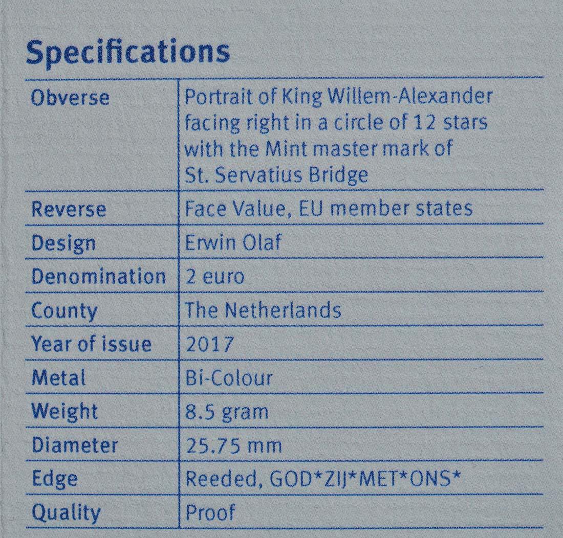 Zertifikat:Niederlande : 2 Euro neuer Münzmeister - Kuni  2017 PP
