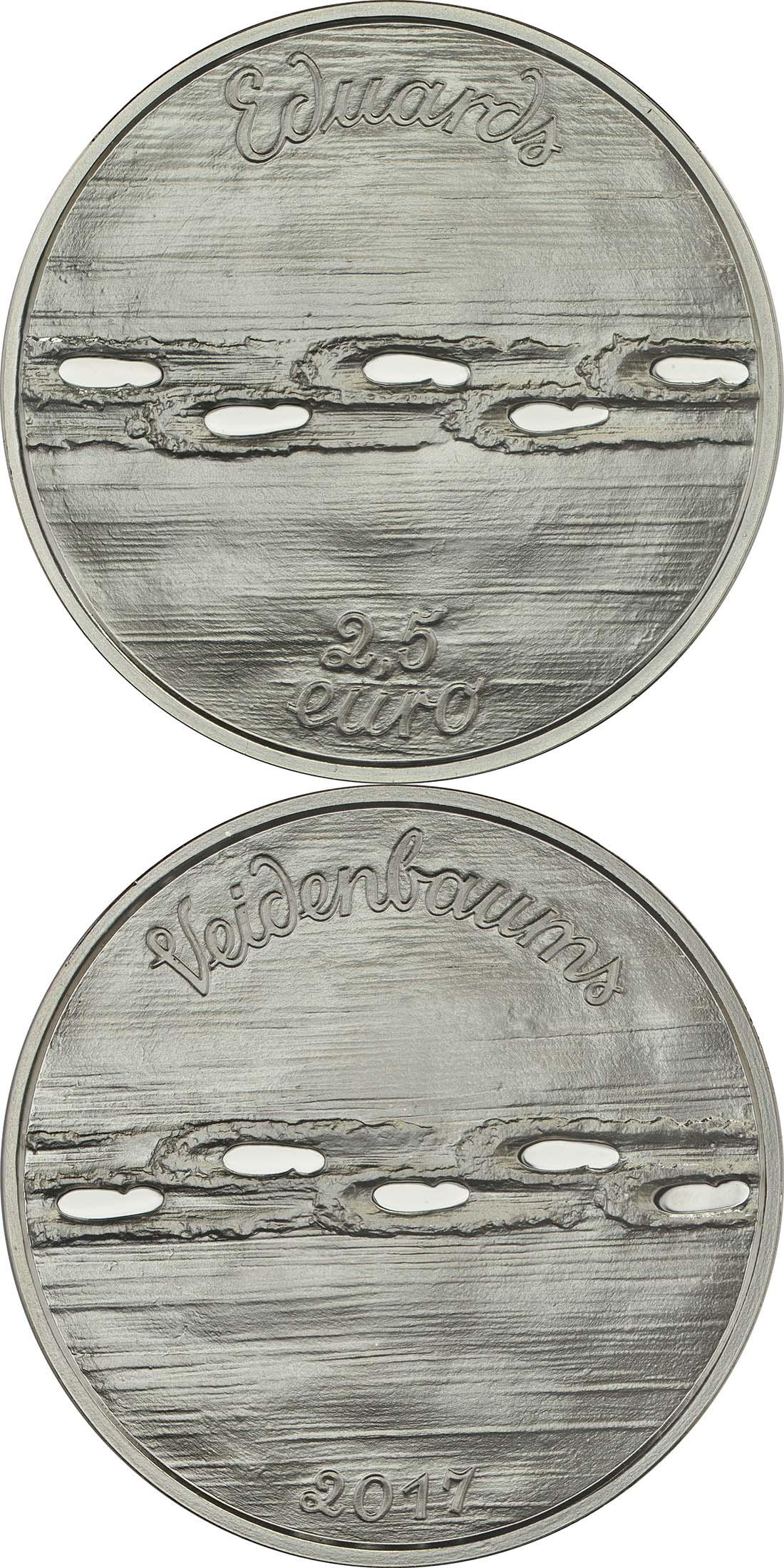 Vorderseite:Lettland : 2,5 Euro Set aus 2x 2,5 Euro Eduards Veidenbaums  2017 PP