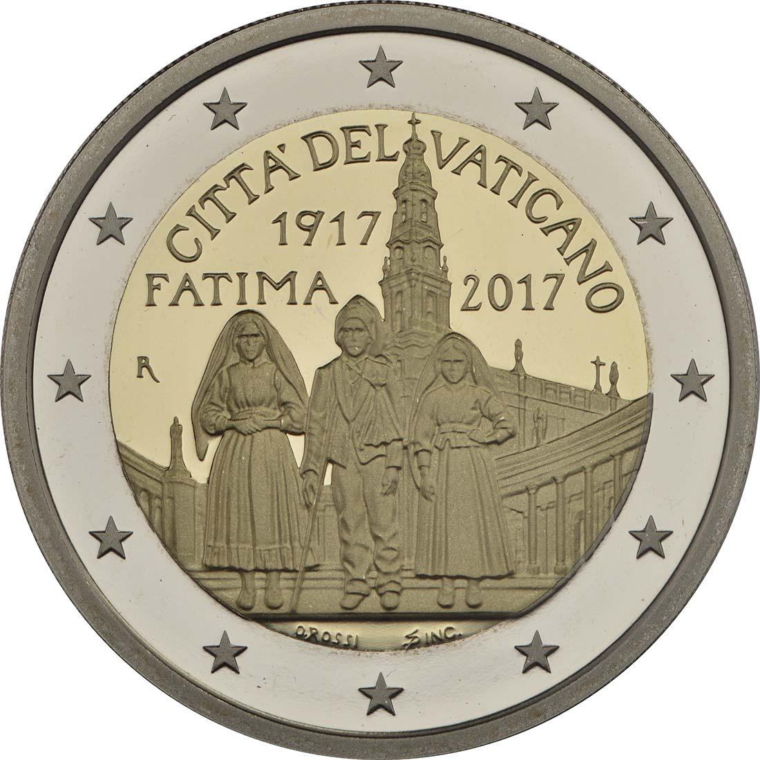 Rückseite:Vatikan : 2 Euro Hundertjahrfeier der Erscheinungen von Fatima  2017 PP