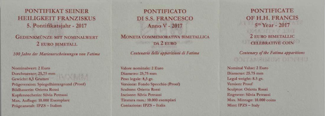 Zertifikat:Vatikan : 2 Euro Hundertjahrfeier der Erscheinungen von Fatima  2017 PP
