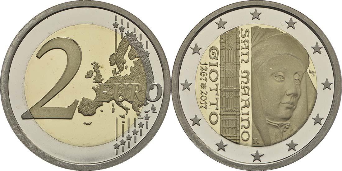 Vorderseite:San Marino : 7,88 Euro KMS San Marino mit beiden 2 Euro Gedenkmünzen Tourismus und Giotto  2017 PP