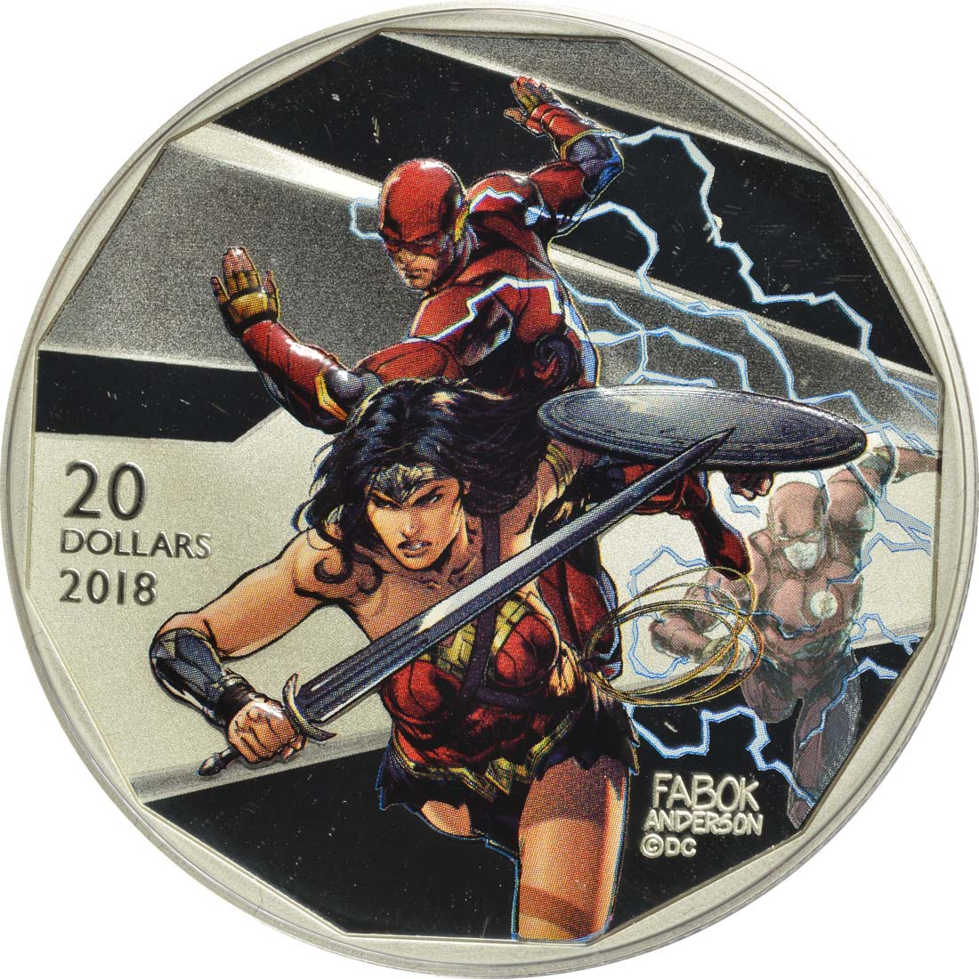 Vorderseite :Kanada : 20 Dollar The Justice League-The Flash & Wonder Woman  2018 PP
