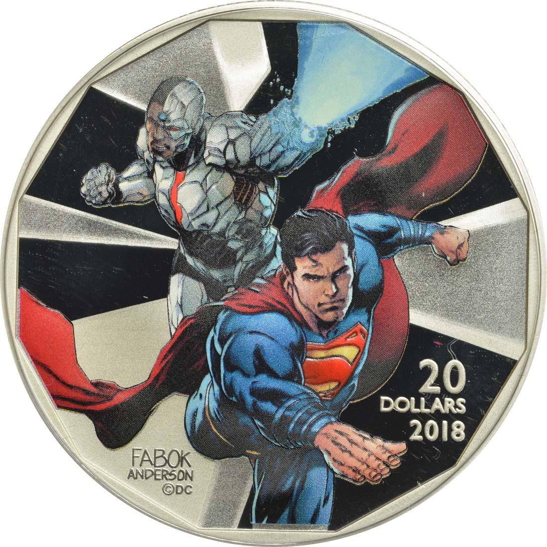 Vorderseite :Kanada : 20 Dollar The Justice League-Cyborg & Superman  2018 PP