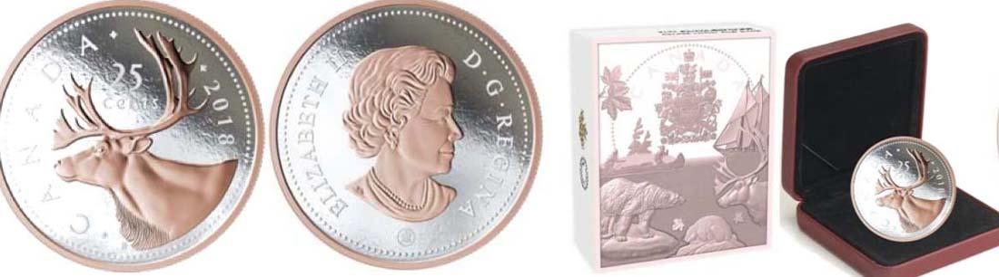 Kanada : 25 Cent Große Münzen - Karibu  2018 PP