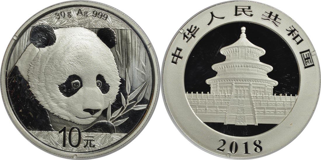 Lieferumfang:China : 10 Yuan Panda  2018 Stgl.