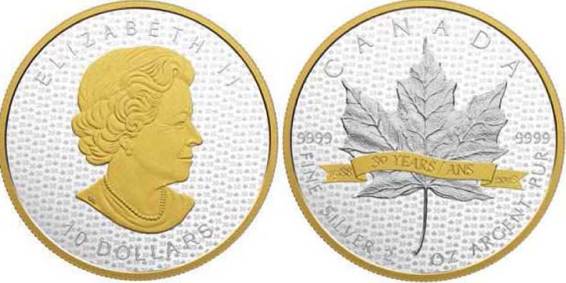 Kanada : 10 Dollar 30 Jahre Maple Leaf  2018 PP