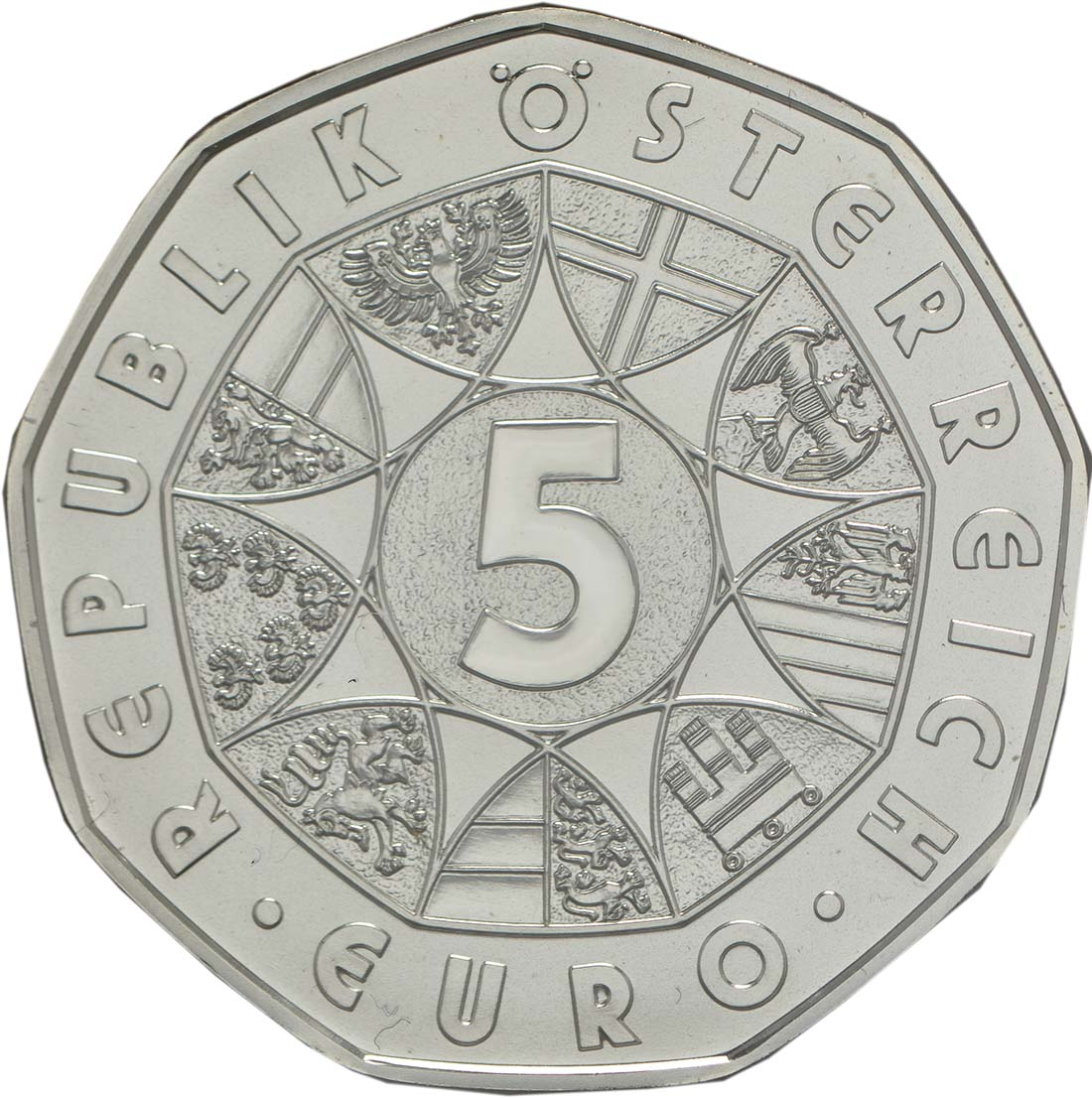 Rückseite:Österreich : 5 Euro Neujahrsmünze Löwenkraft  2018 Stgl.