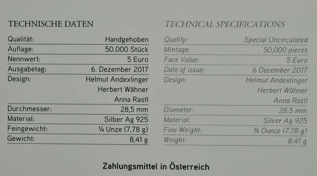Zertifikat:Österreich : 5 Euro Neujahrsmünze Löwenkraft  2018 Stgl.