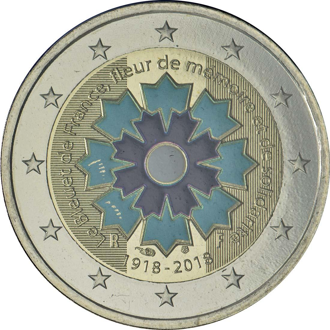 Rückseite:Frankreich : 2 Euro Kornblume coloriert  2018 Stgl.