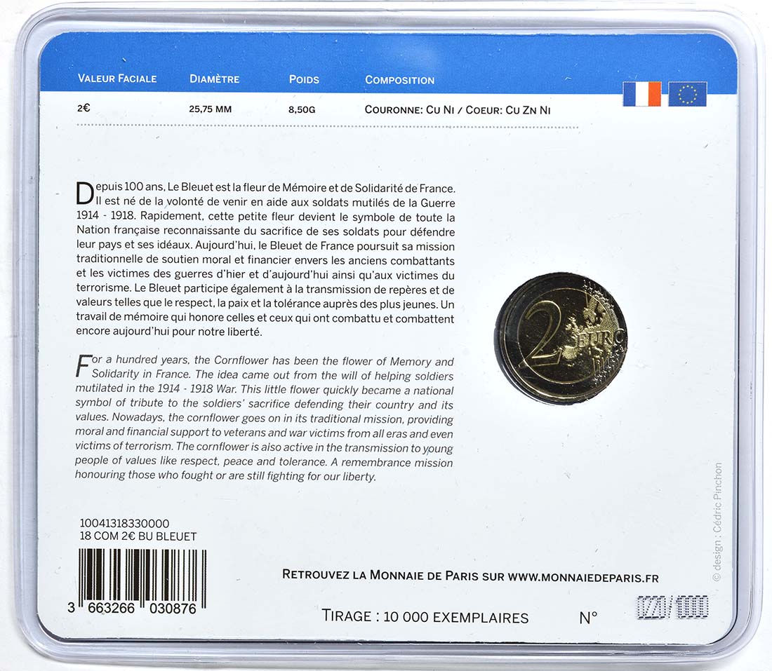 Zertifikat :Frankreich : 2 Euro Kornblume coloriert  2018 Stgl.
