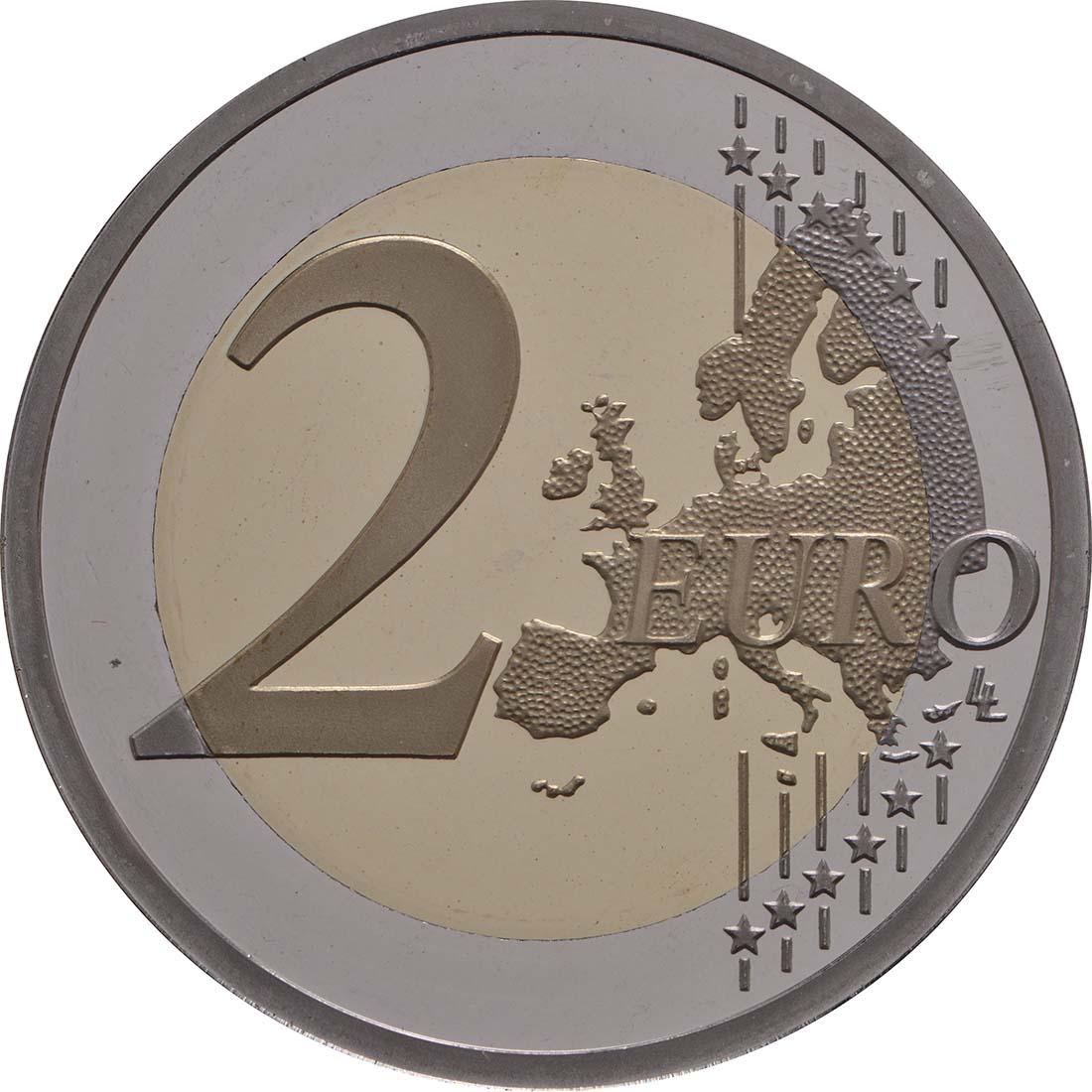 Vorderseite:Frankreich : 2 Euro Kornblume coloriert  2018 PP