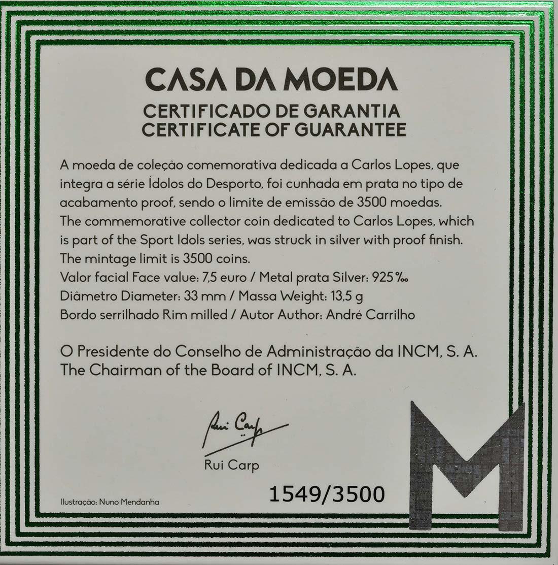 Zertifikat:Portugal : 7,5 Euro Carlos Lopes  2017 PP