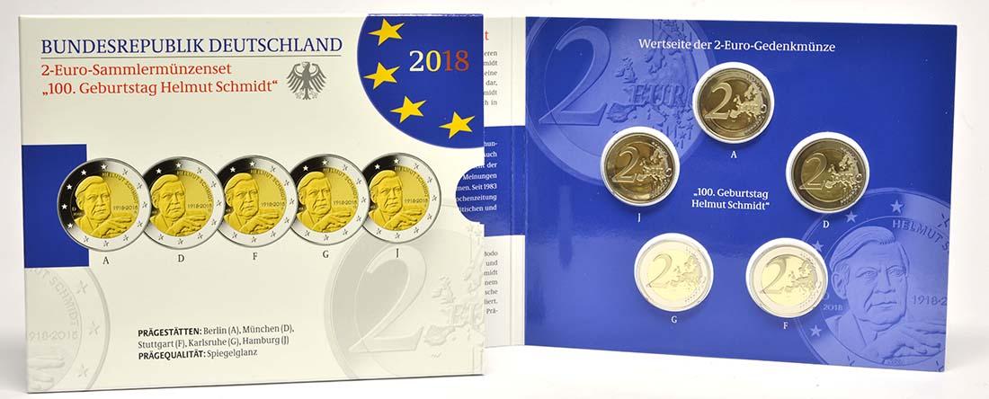 Lieferumfang:Deutschland : 2 Euro Helmut Schmidt Komplettsatz 5x2 Euro  2018 PP