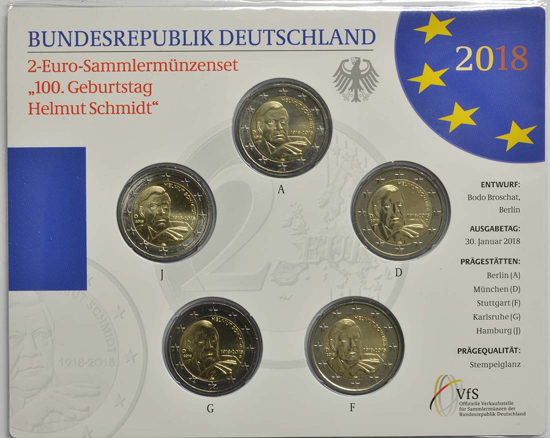 Deutschland : 2 Euro Helmut Schmidt Komplettsatz 5x2 Euro  2018 Stgl.