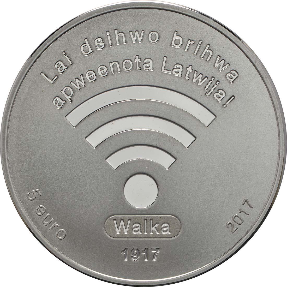 Vorderseite:Lettland : 5 Euro 100 Jahre provisorischer Nationalrat von Walka  2017 PP