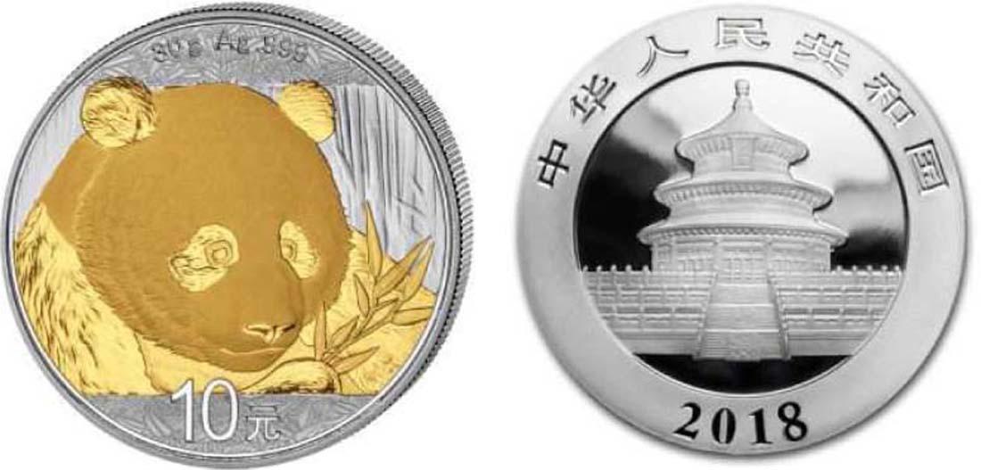 Lieferumfang:China : 10 Yuan Silberpanda teilvergoldet  2018 Stgl.