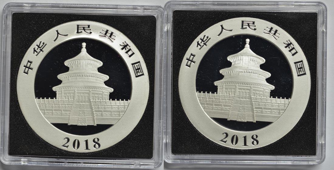 Rückseite:China : 20 Yuan 2 x 10 Yuan Silberpanda Farbset - Night & Day - Variante 2  2018 Stgl.