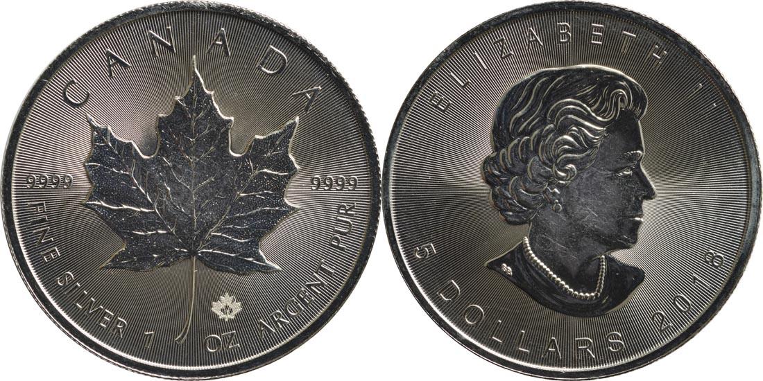Kanada : 5 Dollar Maple Leaf  2018 Stgl.